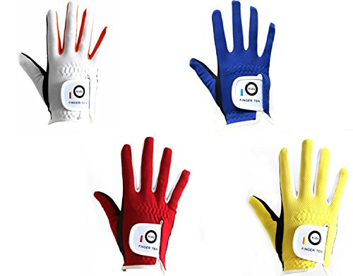 FINGER TEN Junior Kids Dura Feel White Blue Red Yellow Golf Gloves Extra Value 2 Pack (Small Blue, Right)