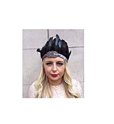 Stunning vintage style feather headdress This headpiece is stunning! Featuring real black iridescent feathers, dark grey glittering headband and dark grey/charcoal seed beading and black elasticated panel to fit. The exact size, shape and shade of th...