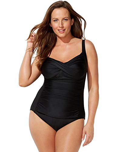 SWIMSUITSFORALL Swimsuits for All Women's Plus Size Twist Front One Piece Swimsuit 22 Black