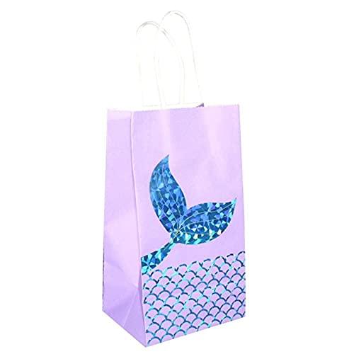MVAOHGN 12 unids/Set Mermaid Theme Party Supplies Tail Paper Bag Kraft Papel Papel Bag Bolsa de Regalo Bolso Ducha Cumpleaños Fiesta de cumpleaños (Color : 3pcs Blue)