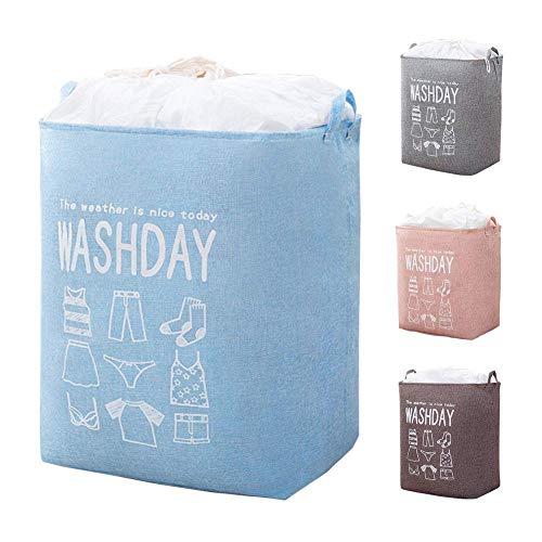 LÈFERS Laundry Hamper,Large Capacity Laundry Basket, Foldable Laundry Baskets, Drawstring Waterproof Rectangular Cotton Linen Storage Basket (BLUE)