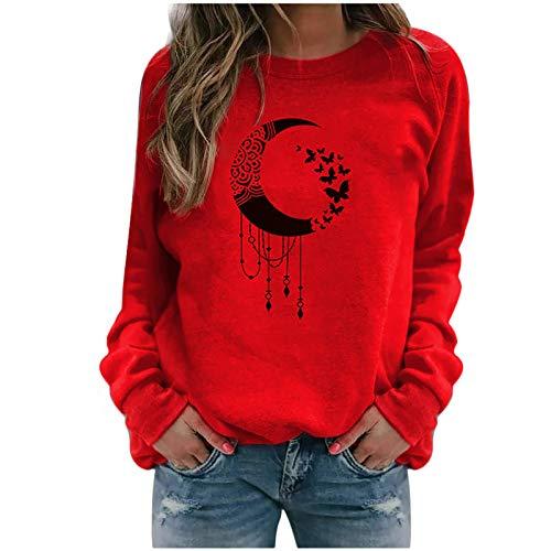 Masrin Mask Damen Sweatshirt Lässiger Mondschmetterling gedruckt Pulloveroberteile Langarmhemden Bluse(XL,Rot)