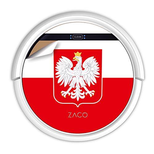 ZACO V5sPro Robot aspirateur avec fonction de nettoyage, 2 en 1 nettoyage jusqu'à 180 m², pour sols durs, protection contre les chutes, sans sac, avec station de charge, 300 ml, drapeau polonais