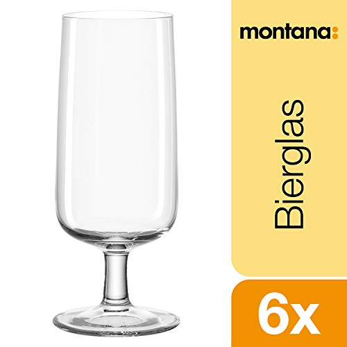 Montana :now bierglas, set van 6, 370 ml, vaatwasserbestendig, Quotan-kristalglas, 044466