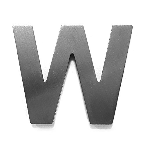 Metalen letter W - geborsteld roestvrij staal met 3M plakfolie - 4cm hoogte