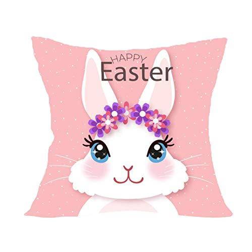 Funda de almohada decorativa de Pascua, cuadrada, creativa, funda de cojín para salón, sofá, dormitorio, 45 cm x 45 cm