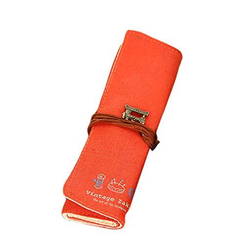 GFCGFGDRG Leinwand-Verpackung Roll Up Briefpapier-Feder-Tasche Retro Vorhang Beutel-Verfassungs-Bürsten-Bleistift-Kasten-Beutel-Halter Retro Vorhang-Bleistift-Beutel