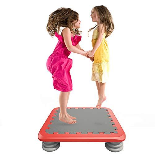 HAPPYMATY - Cama elástica para Interiores, Cama elástica para Saltar, balancín, Cama elástica para niños, Cama de Gimnasia, Plegable, colchón de Fitness, Rojo + Gris