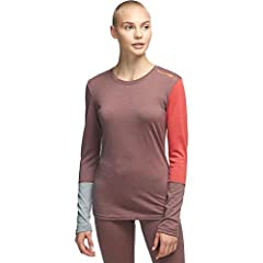 Material: 100% merino wool Insulation Weight: lightweight Fit: form-fitting Style: crew Anti-Odor: yes, natural attribute of merino wool
