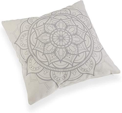 takestop Cojín cuadrado blanco poliéster 45 x 45 x 15 cm motivo Mandala habitación cama sofá salón