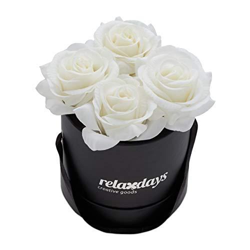 Relaxdays Rosenbox rund, 4 Rosen, stabile Flowerbox schwarz, 10 Jahre haltbar, Geschenkidee, dekorative Blumenbox, weiß