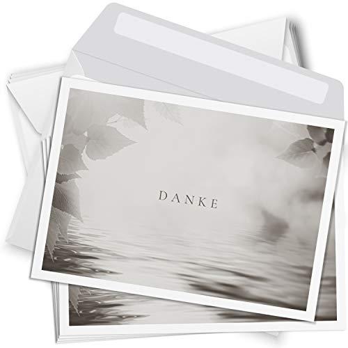 Trauer Danksagungskarten mit Umschlag | Motiv: Natur schlicht, 15 Stück | Dankeskarten DIN A6 Set | Trauerkarten Danksagung Danke sagen