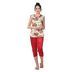 RIKOSA Girls Satin airy Flower Print top and Capri Set