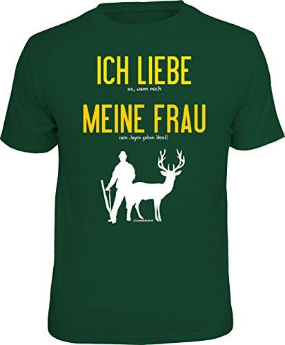 RAHMENLOS Original T-Shirt für den Jäger: Ich Liebe es, wenn Mich Meine Frau…, Grün, M