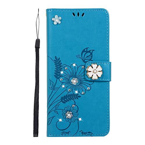 Homikon PU Cuir Coque Fleur 3D Brillante Paillette Strass Diamant Étui de Protection Porte-cartes Portefeuille Housse à Rabat Étui Case Bumper Compatible avec Huawei P30 Pro - Bleu