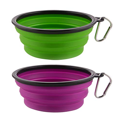Large Collapsible Dog Bowls, 34oz Portable Foldable Travel Water Bowl Food Dishes with Carabiner Clip for Traveling, Hiking, Walking, 2 Pack ( Purple+Green )