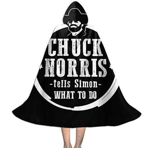 Chuck Norris Tells Simon What To Do Capa con Capucha Unisex para Halloween, Navidad, decoración de Fiestas, Disfraces de Cosplay