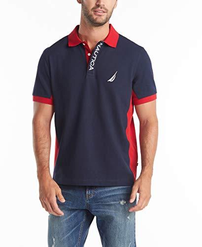 Nautica Men's Short Sleeve Color Block Performance Pique Polo Shirt, Navy, XX-Large