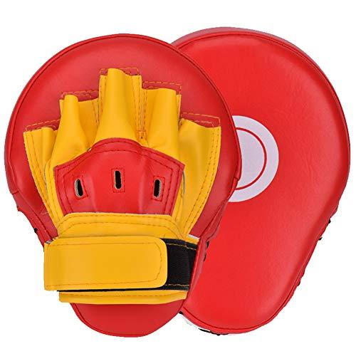 Wuudi Handpratzen 1 Paar Boxtraining Ziel Focus Schlagpolster Handschlagpolster Boxing Pads Trainingspad Kickboxen Training Hand Pads for Karate, Muay Thai Kick, MMA, Sparring, Dojo, Kampfsport rot