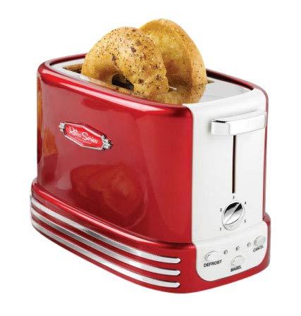 Retro Line Bread Toaster Model 2 Tostadora de Pan y Bagels, Acero Inoxidable, Rojo, Blanco