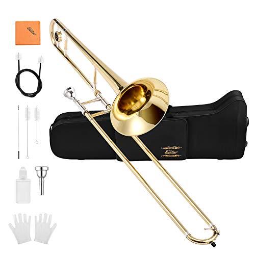 Eastar ETB-330 Bb Tenor Trombone Brass with Hard Case Mouthpiece Cleaning Kit & Care Kit Standard Student Beginner Trombone