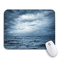 ROSECNY 可愛いマウスパッド 嵐の海と空の雷雲グレーオーシャンワイルドノンスリップゴムバッキングマウスパッドノートブックコンピュータマウスマット