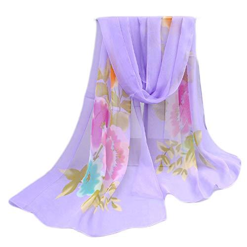 Leichter Blumendruck Frühling Sommer Schal Sonnencreme Schals für Frauen, Lila