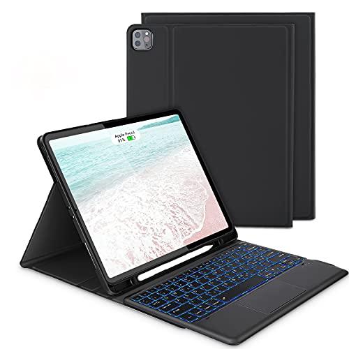 """Custodia con Tastiera Touchpad per iPad Pro 12,9"""" (3a/ 4a Generazione), Tastiera Retroilluminata Rimovibile, Italiana QWERTY, Trackpad Click, Cover Protettiva TPU per iPad Pro 12,9"""" 2020/2018, Nero"""