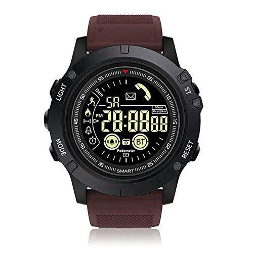 HRRH Outdoor Smart Watch, Bluetooth 4.0 quadrante Luminoso Sport Impermeabile Lungo Standby Smart Wristband Tactical Militare Pedometro,Red