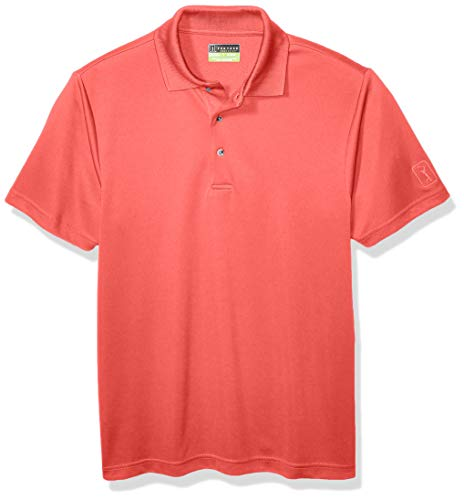 PGA TOUR Men's Airflux Short Sleeve Solid Polo-Shirts, Rose of Sharon 1, X Large