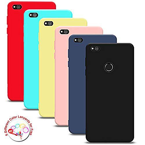 """Silingsan 6X Cover Huawei P8 Lite 2017 (5.2""""), Cover Colore Caramella Custodia Gomma Morbido Custodia Antiscivolo Ultra Slim Silicone Case (Nero Blu Scuro Giallo Viola Verde Rosa) + 6 Cordino"""