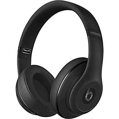 2018 Beats Studio2 Wireless Bluetooth Over-Ear Headphones with Dual-mode Adaptive Noise Canceling, Iconic Beats Sound, Built-in Mic, Built-in Rechargeable Battery, On/Off Switch, USB, Matte Black