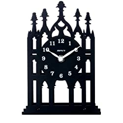 Maple's Cathedral Theme Silhouette Spire Metal Table Clock, Black