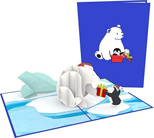 Geburtstagskarte, Eisbär & Pinguin, 3D-Pop-up-Karte, Originelle XXL Glückwunschkarte Alles Gute zum Geburtstag, Grußkarte, Geschenkkarte, Happy Birthday Card, Geburtstagskarten, Geburtstagsbillet