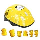 Qixin Casco Protector Set Almohadillas Codo Patinaje 7pcs / Set dillo Dilla Seguridad Deportes Ciclismo Montar Al Aire Libre Muñeca Ajustable Salvaguardia Equipo protección para niños(Amarillo)