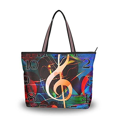 Borse Borse a tracolla con tracolla leggera Borsa Shopping Note musicali Orologio per madre Donna Ragazze Ladies Student Tote Bag