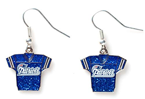 Aminco NFL New England Patriots Glitter Jersey Earrings