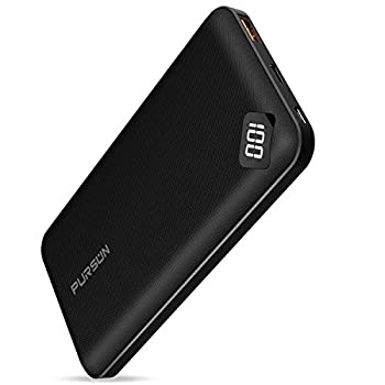 Updated Ultra Compact 10000mAh Fast Charge Power Bank with Dual USB A and USB C Ports Portable Charger with LED Digital Screen for iPhone iPad Samsung Google Pixel Nexus and More