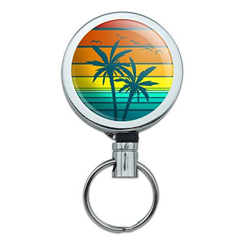 Sunset with Palm Trees Graphic Heavy Duty Metal Retractable Reel ID Badge Key Card Tag Holder with Belt Clip