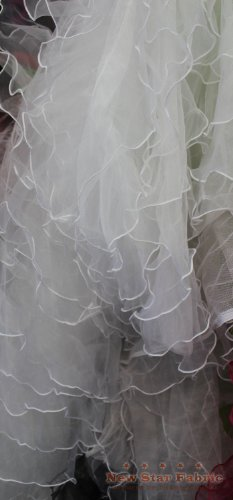 White Organza Ruffle Mesh Fabric 56 inches / 58 inches Width Sold by The Yard Bridal Gown