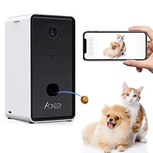 2 in 1 Smart Pet Camera and Treat Dispenser Cover WiFi Full HD Video Dog Camera Treat Tossing with 2-Way Audio,165°Full-Room View, Night Vision, Designed for Dogs and Cats,Compatible with Alexa