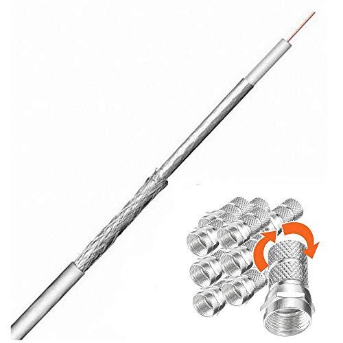 25 m Mini Koax Kabel; Antennenkabel 4,6 mm; inkl. 10 F Stecker 4,6 mm; Innenleiter%100 Kupfer; 2-fach geschirmt; für Sat und Kabel TV-Empfang; [TV Kabel dünn]