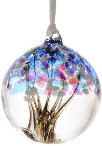 D&J Glassware Winter Tree of Life Small Glass Friendship Ball