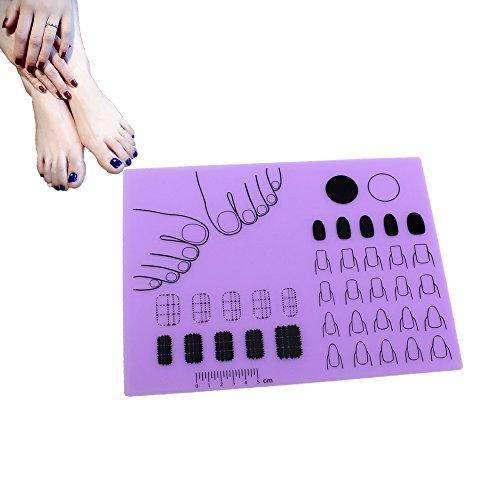 Cocohot Nail Art Stamping Mat Pliable Lavable Tapis de Manucure en Silicone Pour Manicure Coloration Smudging Entrainement (violet)
