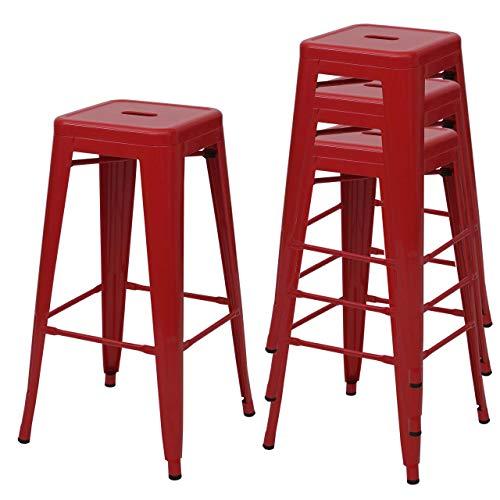 Mendler 4X Tabouret de Bar HWC-A73, Chaise de comptoir, métal, empilable, Design Industriel ~ Rouge