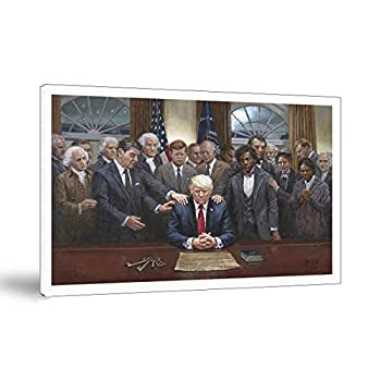 Legacy Of Hope Historical Figures Praying For Donald Trump Canvas Painting Oil Print Poster Wall Art Picture For Living Room Home Decor  Framed,12x18inch