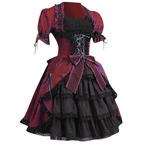 Lazzboy Frauen Vintage Gothic Court Square Kragen Patchwork Bow Kleid Burleske Verstärktes Korsett Mit Tutu Rock Karneval Fasching Kostüm Damen(Rot,M)