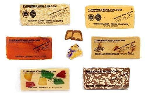 Lote de Turrones Jijonenco artesanos (+1 Regalo de Mazapán). 2 KG – Turrones Fabián - Pack de Turrón (6 x 300 G + 1 x 150 G + 1 Regalo) - Contiene los Turrones más vendidos de Fabián. Formado por 6 barras o tabletas, Bombones rellenos de Turrón, Mazapán - Elaborado y Enviado desde Jijona, Alicante.