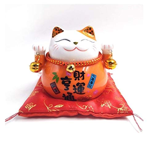 Chat Chanceux Waving Cat Lucky Cat Feng Shui Solar Powered Cute Waving Cat Good Luck Wealth Chats accueillants Adorable Swing Lucky Beckoning Fortune Home Display Car Decor Blanc