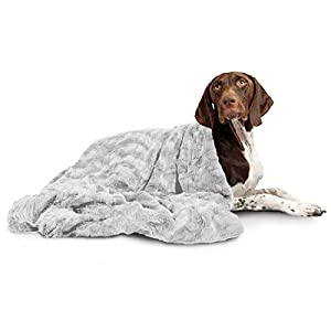 Best Friends by Sheri Calming Cat and Dog Throw Blanket in Lux Fur, Self-Warming, Multi-use (Car, Travel, Sofa Cover, Floor, Crates), Machine Washable, for Pets up to 60 lbs – 40″x50″, Gray